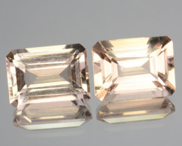 3.03 Cts Natural Soft Peach Morganite 2 Pcs  Octagon Cut Brazil