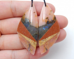 Intarsia Earrings,Natural Labradorite and Pink Opal , Sunstone Intarsia Ear