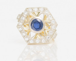 14 kt Solid Gold  Ring  2.00 ct Sapphire - New Jewelry