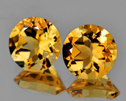 9.00 mm Round 2 pcs 4.95cts Golden Yellow Citrine [VVS]