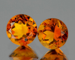 6.00 mm Round 2 pcs 1.50cts Golden Yellow Citrine [VVS]