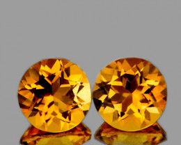 8.00 mm Round 2 pcs 4.08cts Golden Yellow Citrine [VVS]