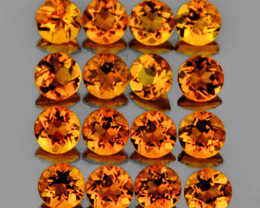 3.00 mm Round 25 pcs 2.13cts Orange Citrine [VVS]