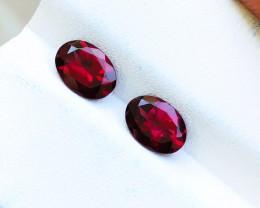 1.85 Ct Natural Reddish Transparent Rhodolite Garnet Gemstones Pairs