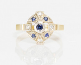 14 kt Solid Gold  Ring  0.30 ct Sapphire - New Jewelry