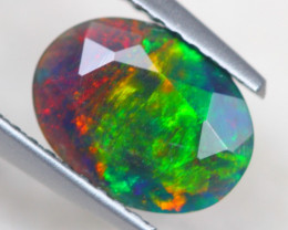 1.13ct Ethiopian Welo Solid Black Smoked Faceted Opal Lot V4519