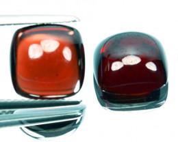~PAIR~ 9.65 Cts Natural Deep Red Rhodolite Garnet 9.5mm Cabochon Africa