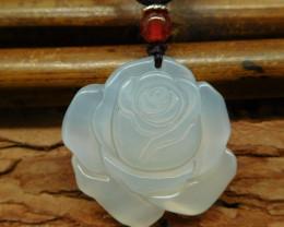 White jade carved flower pendant necklace (G0622)
