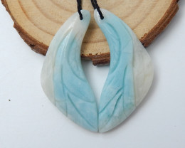 Beautiful Carved Amazonite Earrings ,Natural Jasper Earrings D45