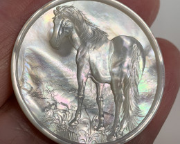Mother of Pearl Horse Carved Cameo Shell with Rainbows Cabochon 20ct
