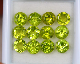 6.67Ct Green Peridot Round Cut Lot Z359