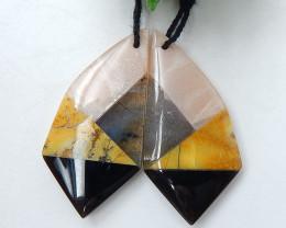 Sun Stone, Obsidian, Yellow opal and Labradorite Intarsia Gemstone Earring