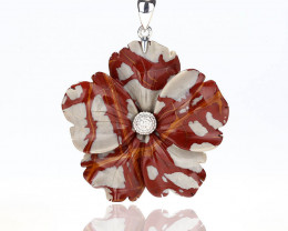 Natural Gemstone Fire Picture Jasper Handcarved Flower Pendant, 925 Sterlin
