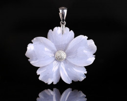 Natural Gemstone Blue Lace Agate Handcarved Flower Pendant, 925 Sterling Si