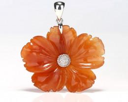 Natural Gemstone Red Aventurine Handcarved Flower Pendant, 925 Sterling Sil