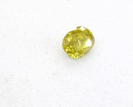 0.16ct  Fancy Vivid greenish Yellow Diamond , 100% Natural Untreated