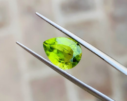 2.60 Ct Natural Green Yellow Pear Cut Semi Transparent Peridot Gemstone