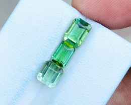 3.30 Ct Natural Greenish Transparent Tourmaline Gems 3 Pieces