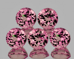 4.00 mm Round 5 pcs 1.28cts Orange Pink Tourmaline [VVS]