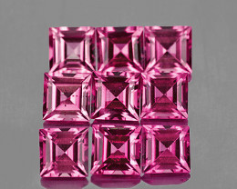 3.00 mm Square 9 pcs 1.24cts Pink Tourmaline [VVS]