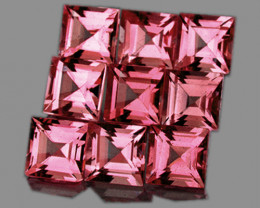 3.00 mm Square 9 pcs 1.37cts Orange Pink Tourmaline [VVS]