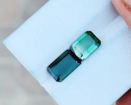 2.80 Ct Natural Greenish Transparent Tourmaline Gemstones Pairs