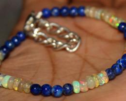 15 Crt Natural Ethiopian Welo Fire Opal & Lapis Lazuli Beads Bracelet 467