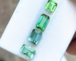 5.20 Ct Natural Green Transparent Tourmaline Gems 4 Pieces