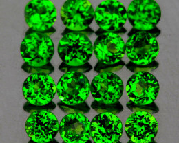 2.00 mm Round 30 pcs 1.15cts Chrome Green Diopside [VVS]