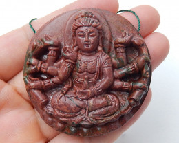 Handmade Multi-Color Picasso jasper Carved guanyin Pendant Bead H6495