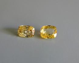 13.13ctw Yellow Sapphire Pair, Unheated, Sri Lanka