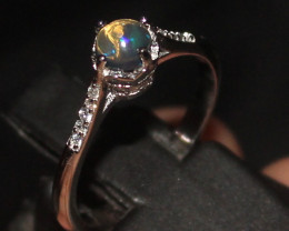 Natural Ethiopian Welo Fire Smoked Opal 925 Silver Ring Size (7 US) 35
