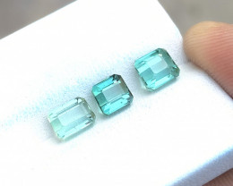 3.10 Ct Natural Blueish Green Transparent Tourmaline Gems 3 Pieces