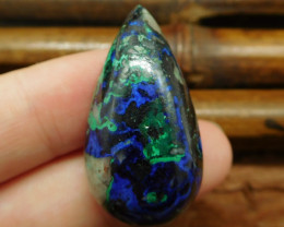 Natural blue azurite cabochon for necklace (G0665)