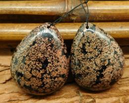 2pcs Snow flake obsidian pendant bead (G0676)