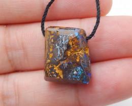 21cts Boulder Opal Gemstone Pendant Bead Fire, Rare Australian Opal D82