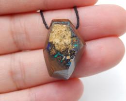 27.5cts Boulder Opal Gemstone Pendant Bead Fire, Rare Australian Opal D78