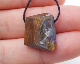 13.5cts Boulder Opal Gemstone Pendant Bead Fire, Rare Australian Opal D84