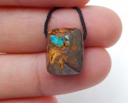 10.5cts Boulder Opal Gemstone Pendant Bead Fire, Rare Australian Opal D91