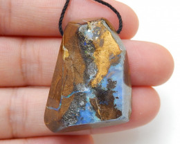 67cts Boulder Opal Gemstone Pendant Bead Fire, Rare Australian Opal D92