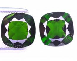 Rare 4.25 Ct Brilliant Color Natural Chrome Diopside Pair