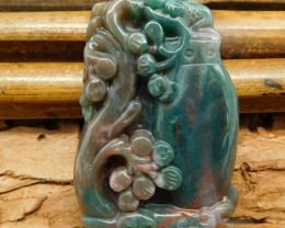 Natural fancy agate cavred flower pendant (G0686)
