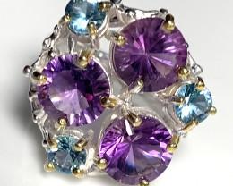 Sparkling Amethyst Topaz .925 Sterling Silver Ring 14kt Gold No Reserve