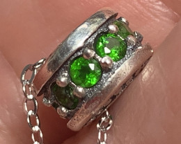 Chrome Diopside Pendant (on Chain) Sterling Silver No Reserve