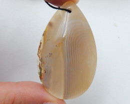 99 Cts Natural Agate Pendant Bead , Oval Agate Pendant D113
