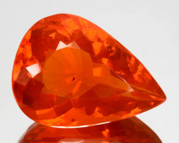 10.90 Cts Natural Top Orange Fire Opal Pear Mexico Gem (Video Avl)