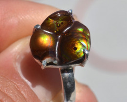 20.96 Carat Fantastic Fire Agate in Sterling Silver Ring