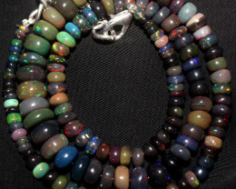 59 Crt Natural Ethiopian Welo Fire Smoked Opal Beads Necklace 128