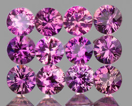 2.60 mm Round Machine Cut 12 pcs Unheated Purplish Pink Sapphire [VVS]