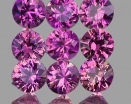 2.70 mm Round Machine Cut 9 pcs Unheated Purplish Pink Sapphire [VVS]
